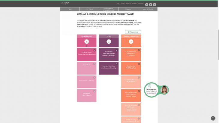 DAPR Redesign - Interaktives Tool zum Finden des passenden Fortbildungsangebots