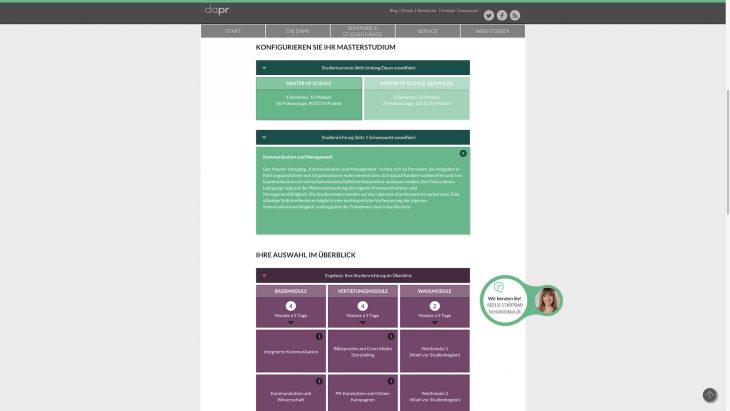 DAPR Redesign - Interaktives Tool zur Auswahl und Konfiguration des Masterstudiums