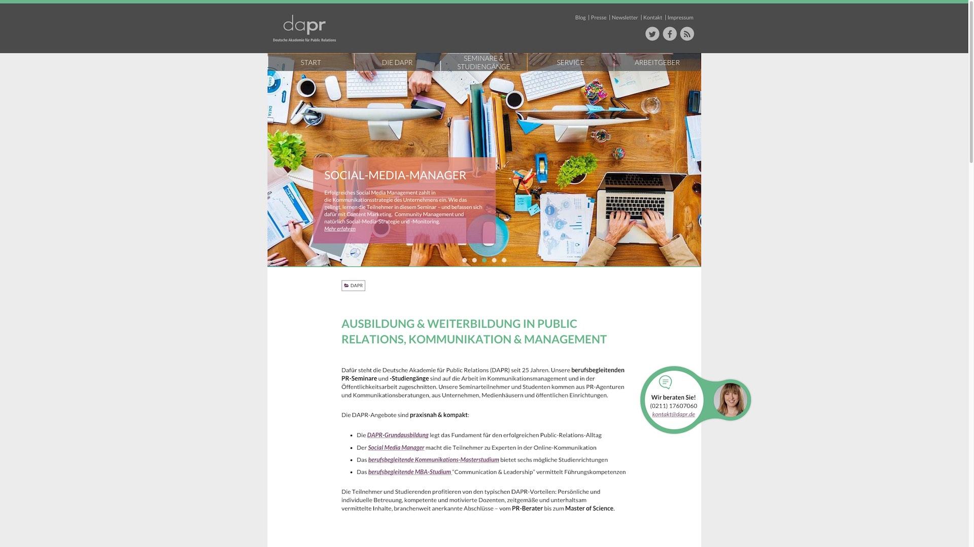 DAPR Redesign - Neu entwickelte Startseite