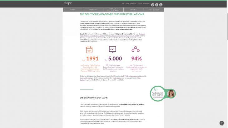DAPR Redesign - Zahlen und Fakten als herausragendes Element