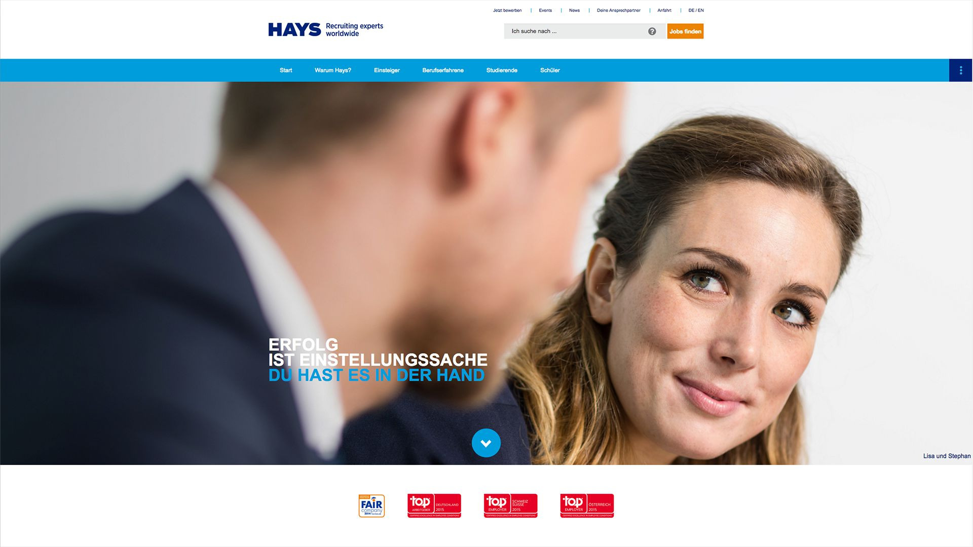 Neues Keyvisual nach dem Website Redesign von hayscareer.net