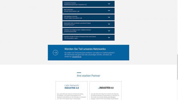 Labs Network INDUSTRIE 4.0 - Responsive Landingpage - Testfelder