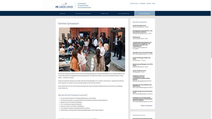 PR Career Center - Responsive Newsportal - Sommer Symposion