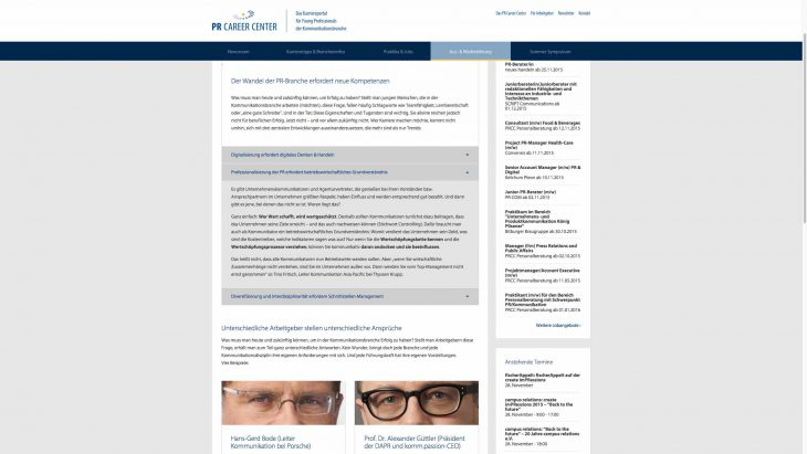 PR Career Center - Responsive Newsportal - Weiterbildung
