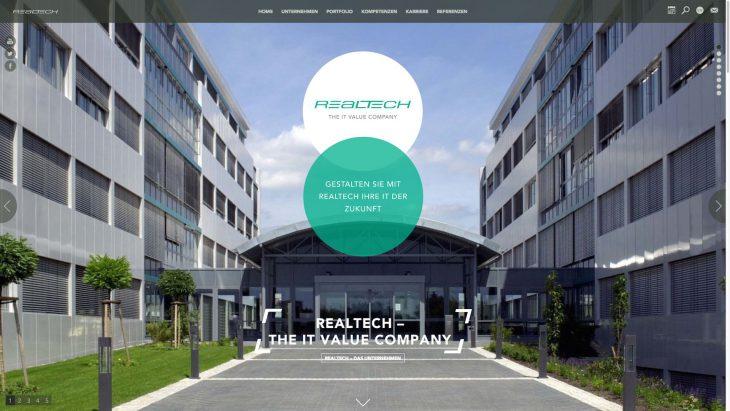 Realtech - Responsive Unternehmenswebsite - Homeseite