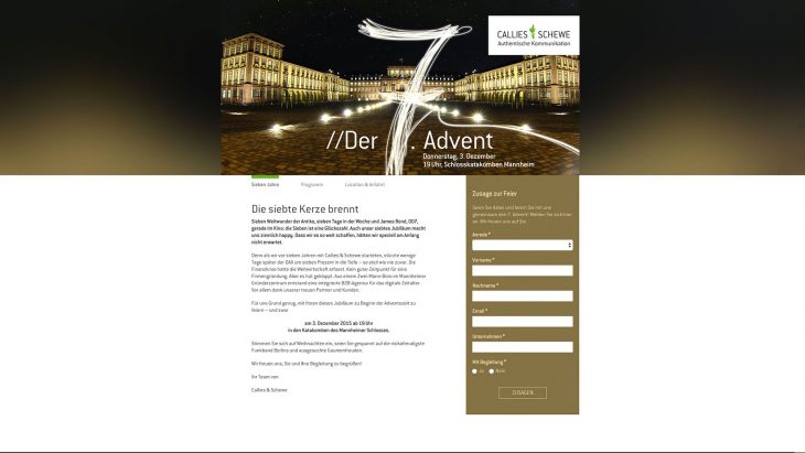 Responsive Event-Landingpage mit Anmeldung