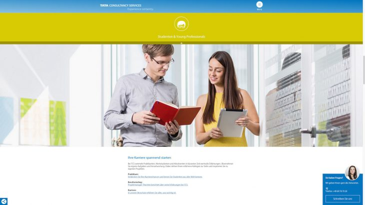 TCS -Responsive Website - Karrierewebsite - Zielgruppe Young Professionals